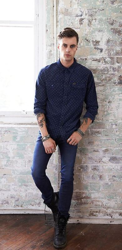 Picture Of Skinny Jeans With A Printed Button Down Shirt