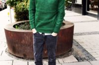 Skinny Jeans With A Shirt Under A Stylish Green Sweater