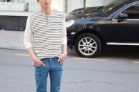 Skinny Jeans With A Striped Shirt