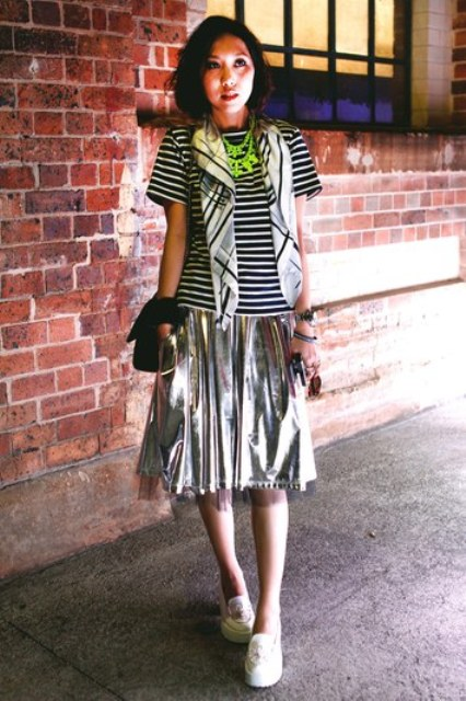 Striped shirt and midi silver skirt look