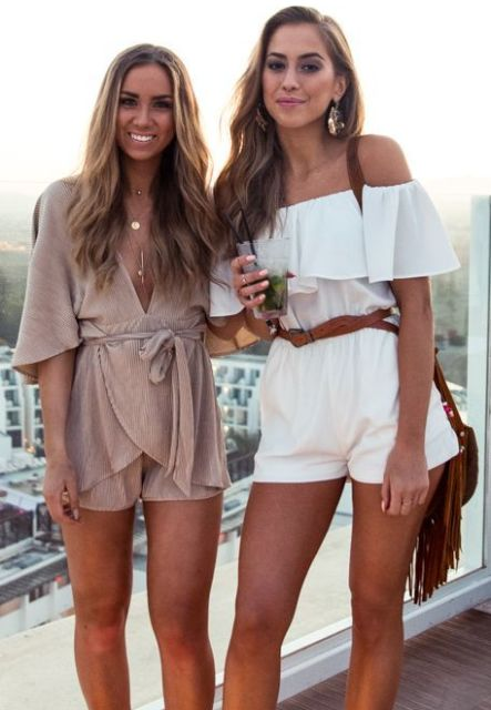 Summer rompers with belts