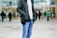 Super Skinny Jeans With A Striped Shirt And A Jacket