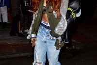 Trendy Rihanna's look with low-slung jeans and sandals