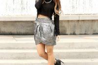 Tulip metallic skirt and crop top outfit