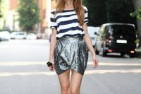 Tulip skirt and striped shirt outfit