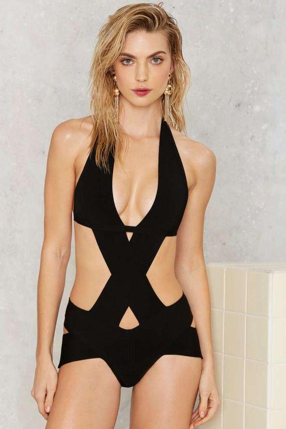 black bandage one piece swimsuit