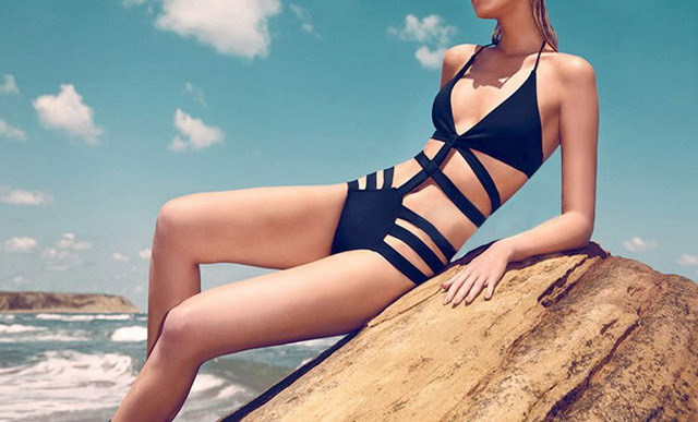black one piece bandage swim wear