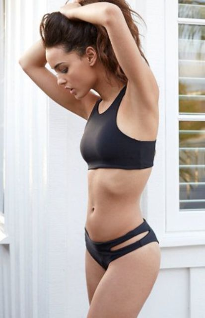 black sporty cutaway bikini with a cutout bottom