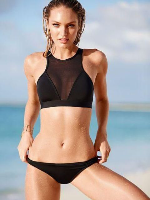 black sporty cutaway bikini with a sheer top