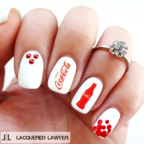 Cheerful DIY Coca-Cola Nail Art For Summer