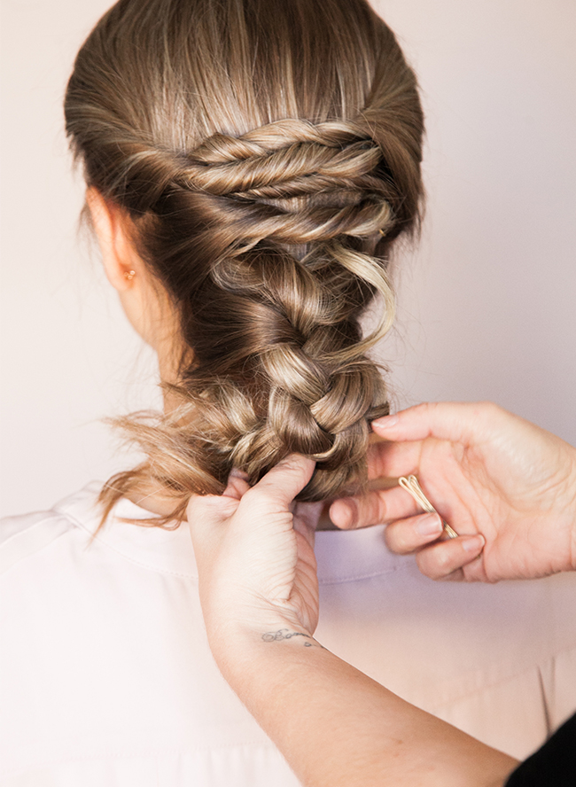 Picture Of chic diy braided updo for formal events  4