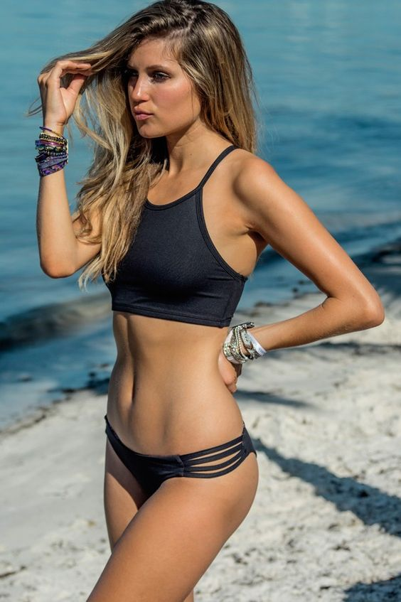 dark greay sporty cutaway bikini