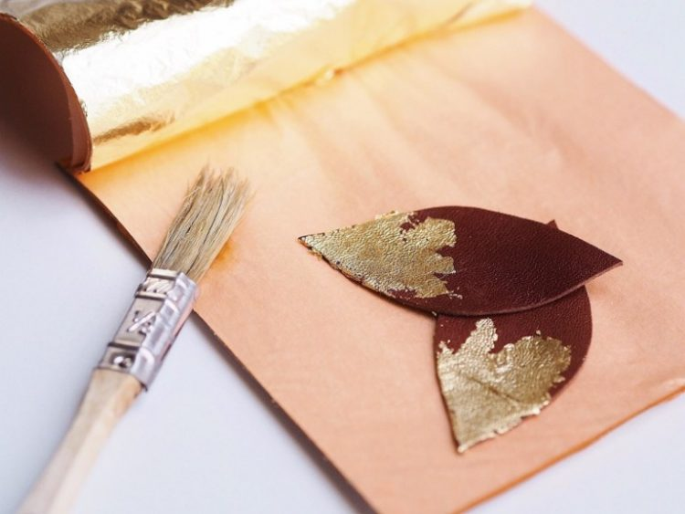 DIY Gilded Feather Earrings From Leather