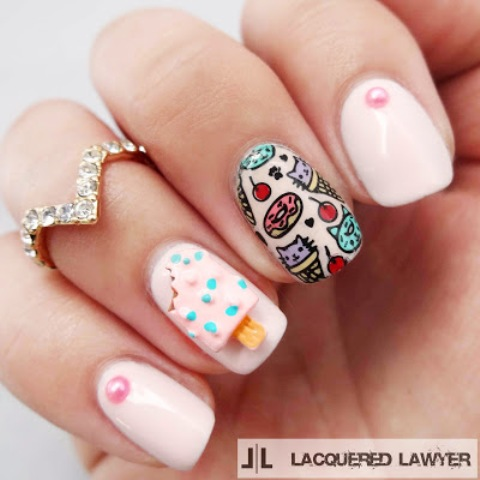 diy ice cream and cat cones summer nail art  styleoholic