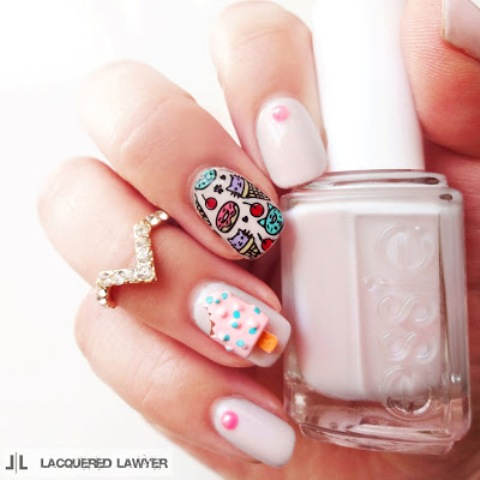 DIY Ice Cream And Cat Cones Summer Nail Art