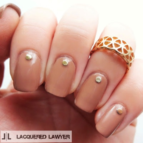 DIY Dark Tan Nails With Studs That Are Work-Appropriate