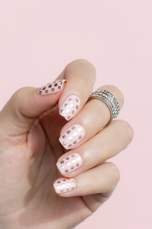 Picture Of glam diy gatsby inspired rose gold dotted nail design  1