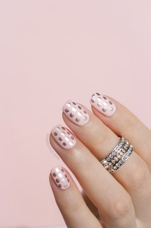 Glam DIY Gatsby Inspired Rose Gold Dotted Nail Design