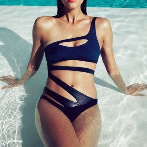 one shoulder navy bandage swimsuit