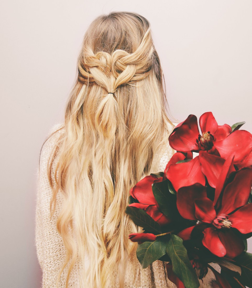Picture Of romantic diy heart shaped half hairdo try  1