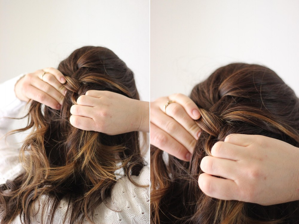 Picture Of simple diy braided upstyle for second day hair  2