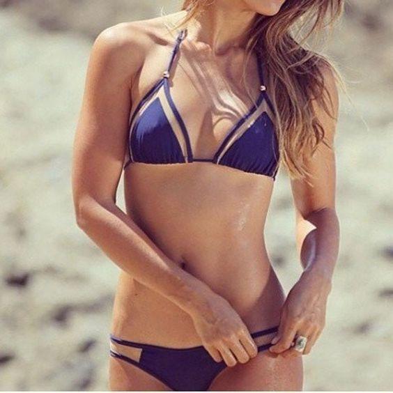 strappy bandage navy bikini