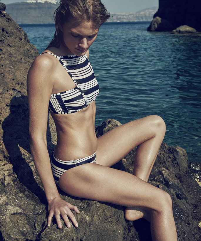 striped black and white sporty cutaway bikini