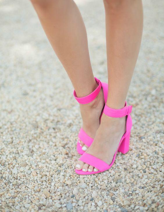 bold fuchsia block heel sandals