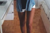 02 chambray shirt with a black top, white shorts and black converse