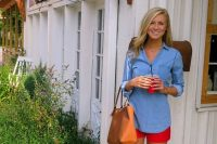 02 denim shirt and red shorts with tan shoes and purse