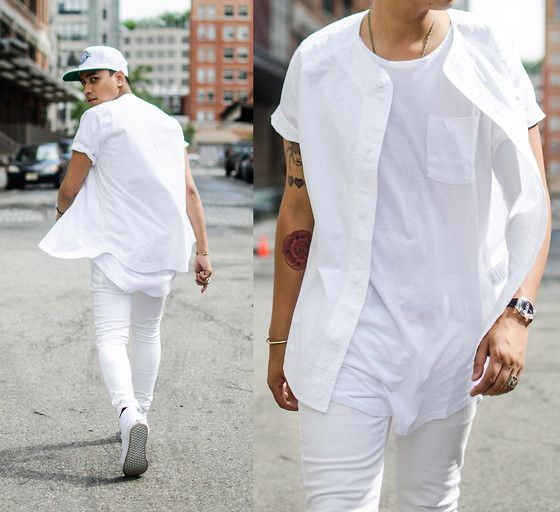 sport-style all-white look with a tee, shirt and jeans