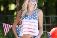 03 American flag crop top and denim shorts