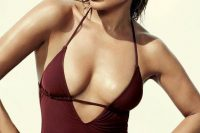 03 J.Lo rocking a deep V-cut marsala one-piece swimsuit
