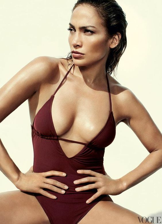 J.Lo rocking a deep V-cut marsala one-piece swimsuit