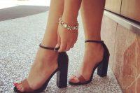 03 black and brown block heel sandals