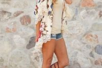 03 gladiator sandals, a lace shirt, a cream top and denim shorts