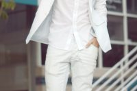 03 white jeans, a white shirt and a white jacket