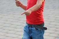 04 denim shorts, a red tee and red sneakers
