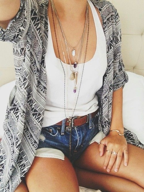 graphic printed shirt, denim shorts and a white top