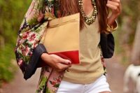 05 kimono-styled shirt, a tan top and white shorts