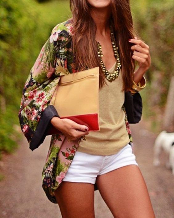 kimono styled shirt, a tan top and white shorts