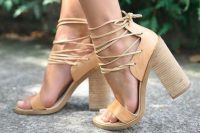 05 tan block heels with leather straps