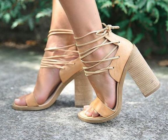 tan block heels with leather straps