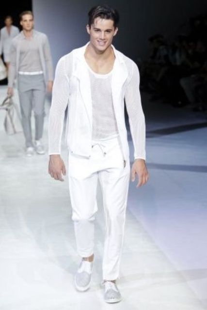 06 casual white pants, top and jacket