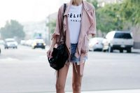 06 denim shorts, a white tee, pink jacket and high top sneakers