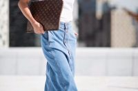 06 maxi button down denim skirt with a white t-shirt