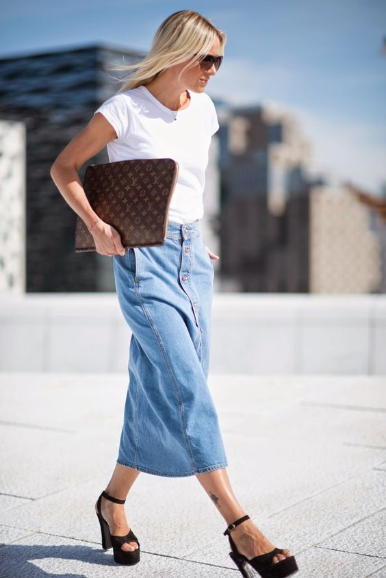 maxi button down denim skirt with a white t-shirt