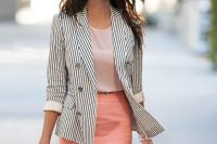 06 peach-colored skirt with a striped jacket and a simple top