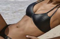 07 black leather bikini with a halter top