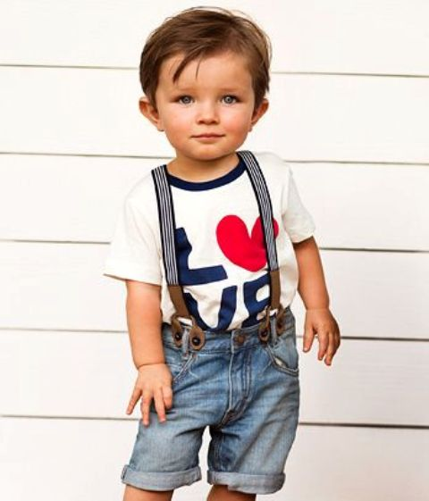 denim shorts, a tee and suspenders